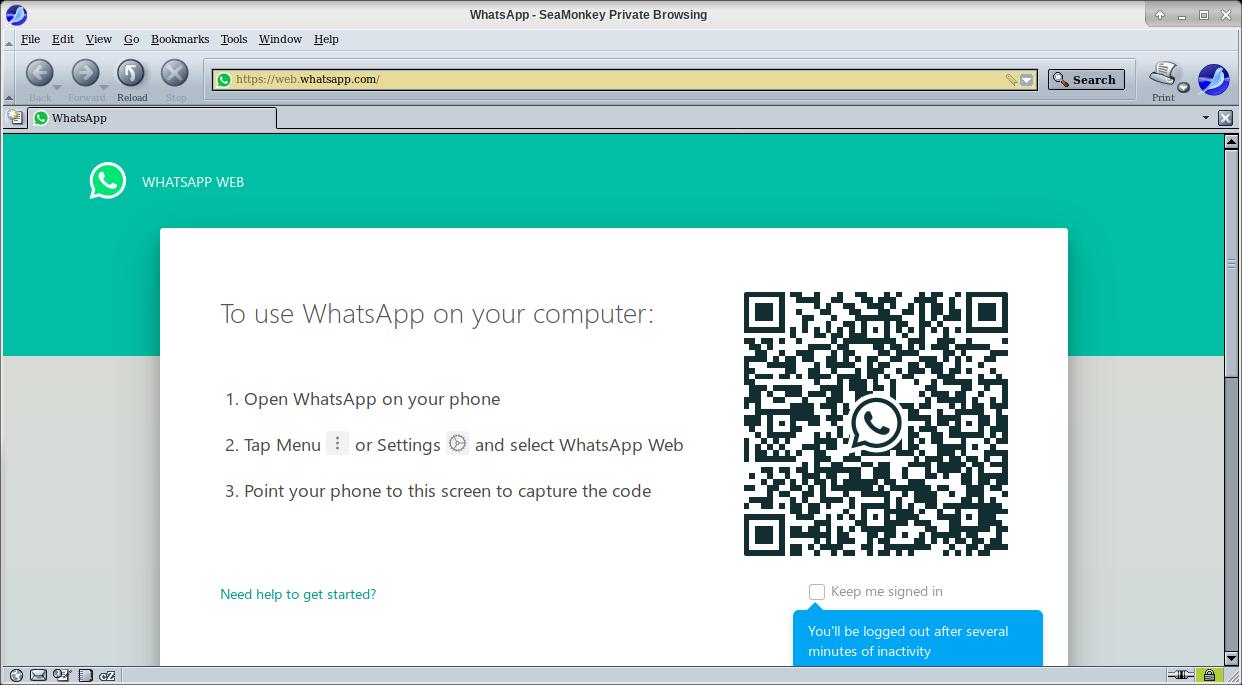 WhatsApp Web sudah bisa diakses dengan Seamonkey