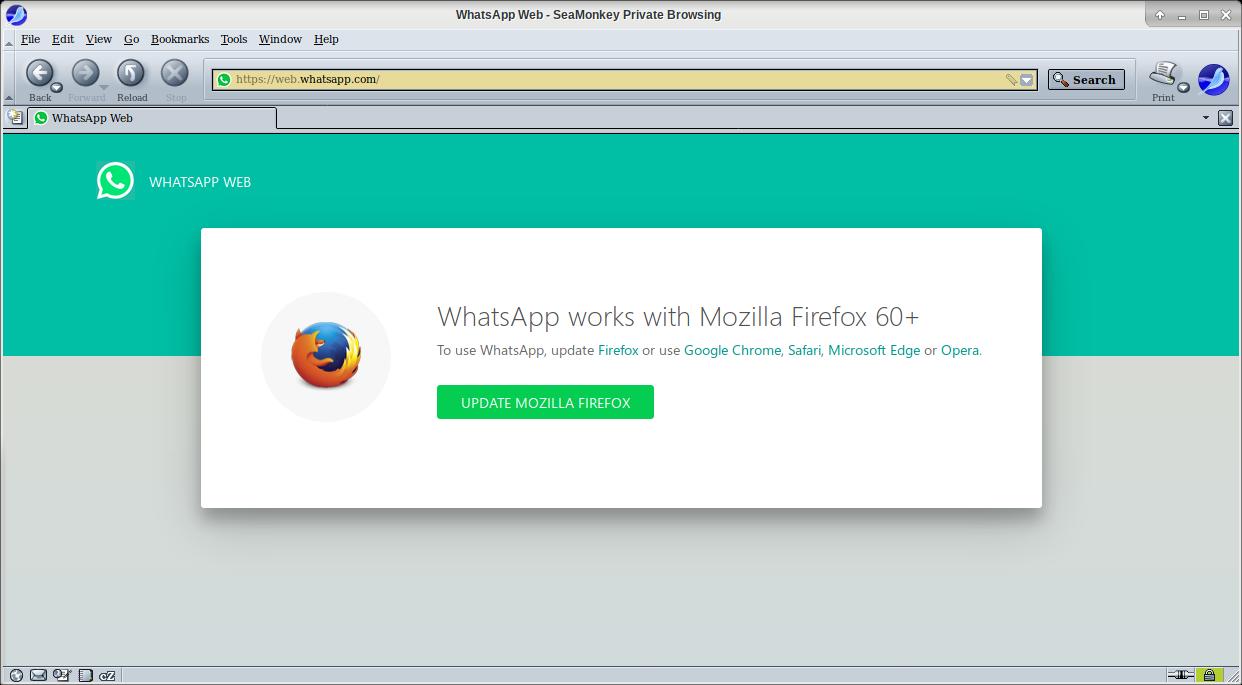 WhatsApp Web tidak bisa diakses dengan Seamonkey